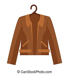 Brown shortened leather jacket with collar and pockets on white