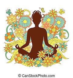 brown silhouette girl in yoga lotus pose on floral background