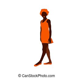 brown silhouette of a dark skinned young sporty girl with red hair