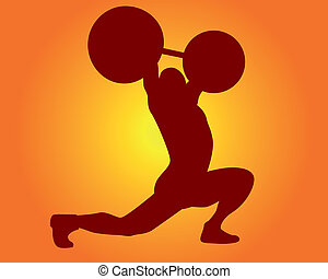 brown silhouette of a weight lifter on an orange background