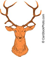 Brown silhouette of deer head, on white background.
