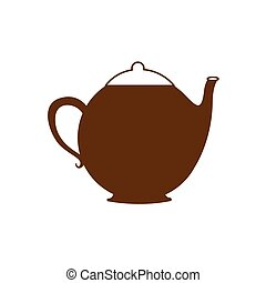 brown silhouette teapot icon drink