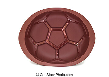 Brown silicone baking form for cake isolated