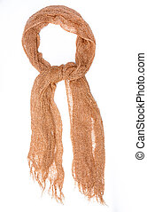 Brown silk scarf isolated on white background