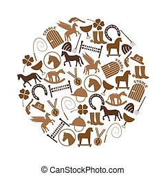 brown simple horse theme icons set in circle eps10