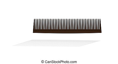 brown small comb with shadow on white background