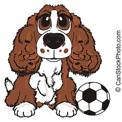 brown spaniel and soccer