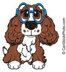 brown spaniel in glasses