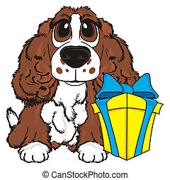 brown spaniel with box