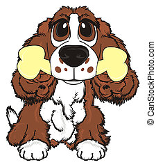 brown spaniel with food