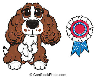 brown spaniel with prize