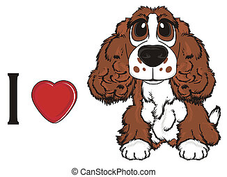 brown spaniel with signs