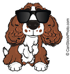 brown spaniel with sunglasses