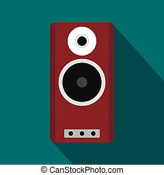 Brown speaker icon, flat style