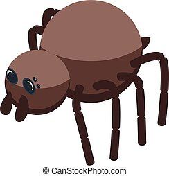 Brown spider icon, isometric style