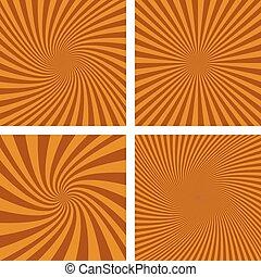 Brown spiral background set
