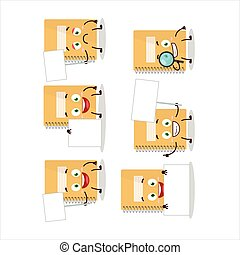 Brown spiral notebooks cartoon character bring information board