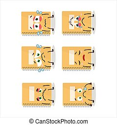 Brown spiral notebooks cartoon character with sad expression