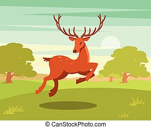 Brown spotted deer with antlers running, wild animal amongst...