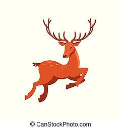 Brown spotted deer with antlers running, wild animal cartoon...