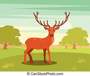 Brown spotted deer with antlers standing, wild animal...