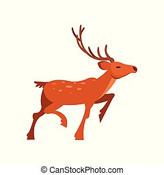 Brown spotted deer with antlers, wild animal cartoon vector...