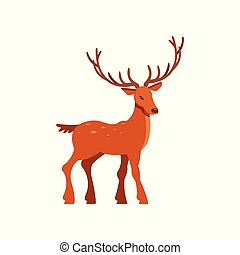 Brown spotted majestic deer with antlers, wild animal...