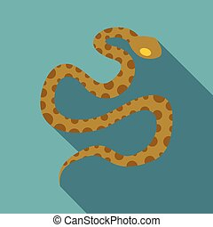 Brown spotted snake icon, flat style