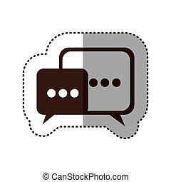 brown square chat bubbles icon