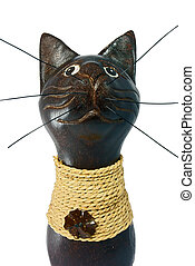 Brown statuette of the cat isolated over white