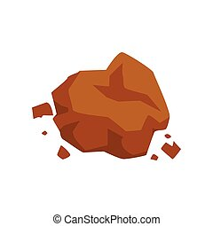 Brown stone, geological industry element vector Illustration on a white background