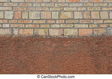 brown stone texture of bricks and plaster on the wall