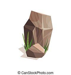 Brown stones with green grass, landscape design element vector Illustration