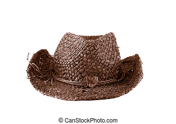 fashion brown straw hat on white background