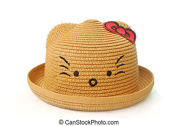 Brown straw hat for young children on white background.(with Clipping Path).