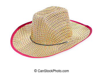 Brown straw hat isolated on white background