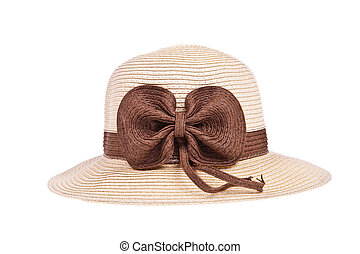 Brown straw hat with ribbon isolated on white background
