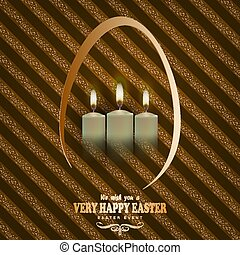 brown striped background with candles and text of a happy easter card