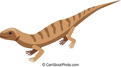 Brown striped lizard icon, isometric style
