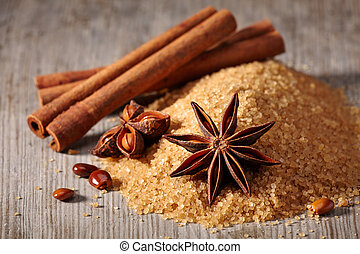 Brown sugar, cinnamon sticks and star anise