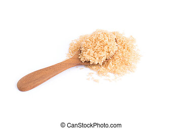 brown sugar in a wooden spoon isolated on white background