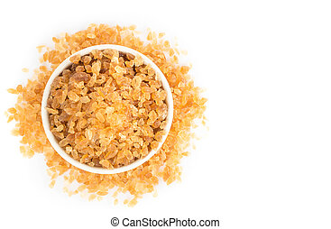 Brown sugar on ceramic bowl isolated with white background, top view ceramic bowl on white background
