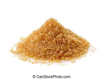 Brown sugar on white background