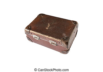 brown suitcase on a white background