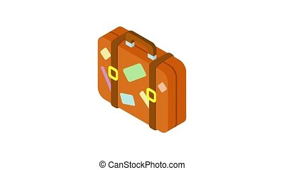 Brown suitcase with stickers icon animation best object on white background