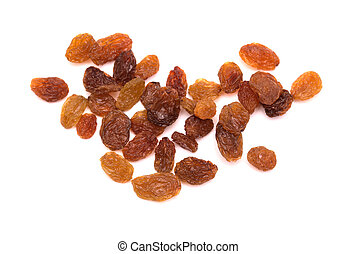 brown sultana raisins isolated on white background