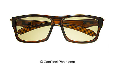 Brown sunglasses isolated on white background