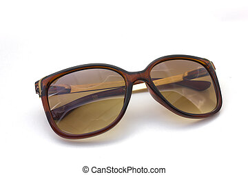 Brown sunglasses on isolated white background