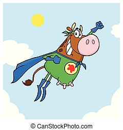 Brown Super Hero Cow Cartoon Mascot Character Flying