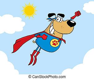 Brown Super Hero Dog Flying In Sky Cartoon Character